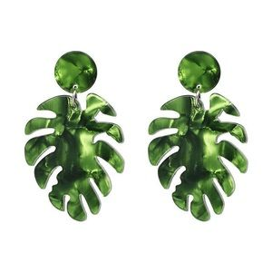 Jewelry - NWT Resin Acrylic Green Monstera Leaf Earrings